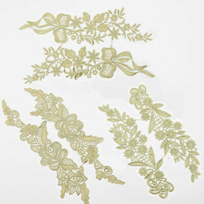 1 Pair Sewing Gold Polyester Lace Trim Costume Dress Appliques Decor DIY Craft - Couple Costumes Diy