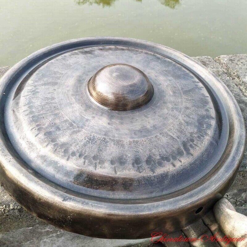 """12"""" Tibetan Buddhist Ritual Lion Gong Convex Gong Bell Bronze Hand Bell 疙瘩鑼#1604"""