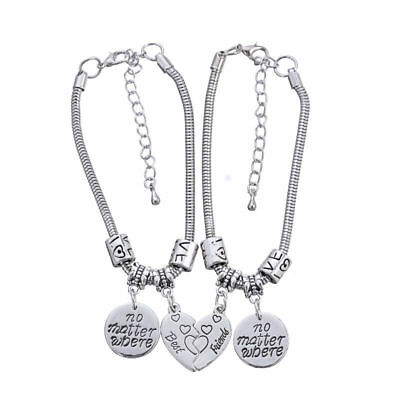 Heart No Matter Where Best Friend Bracelet Pendant Friendship Jewelry Charm (Best Matters)