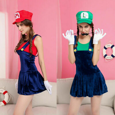 Mario Halloween Costume Women (Sexy Cute 4 Set  Mario Plumber Halloween Party Costume Womens Adult)