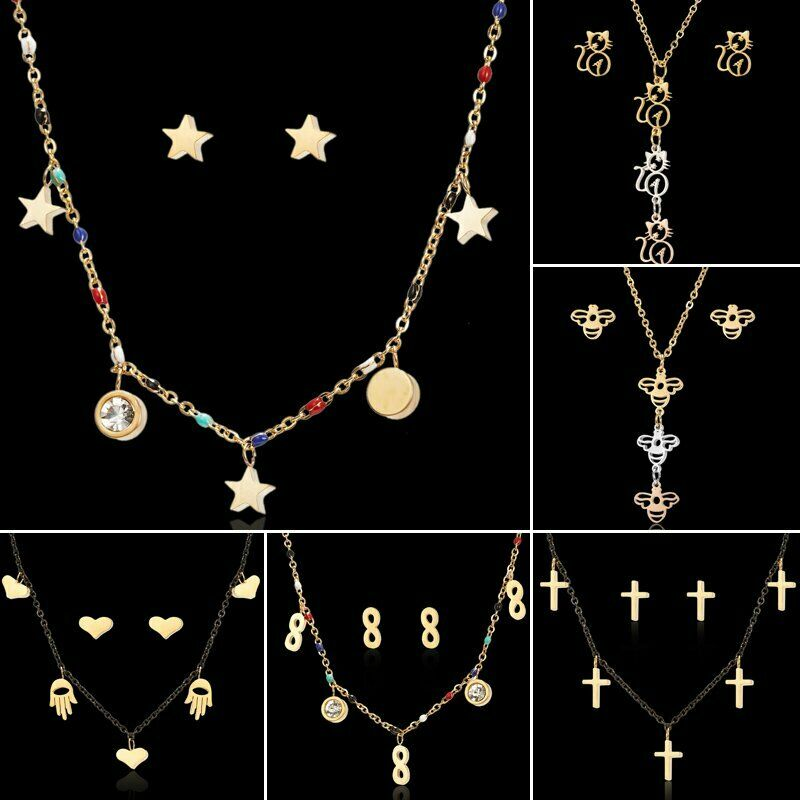 Fashion Women Peal Necklace Gold Silver Choker Chain Pendant Set Earring Jewelry