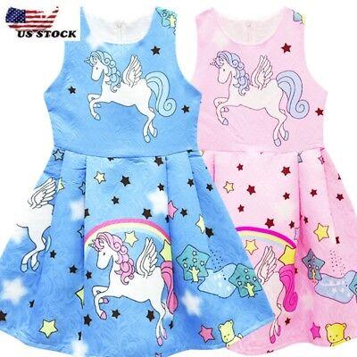 Girls KIds Rainbow Unicorn Dress Princess Party Birthday Fancy Costume O109](Rainbow Costume Child)