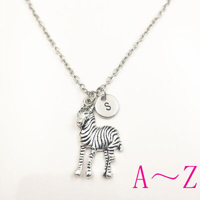 zebra anima charm silver Initial Letter Necklace stamped monogram chain pendants