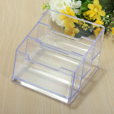 3 Tier Clear Acrylic Desktop Business Card Holder Display Plastic Desk Shelf
