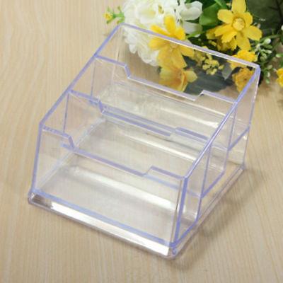 3 Tier Clear Acrylic Desktop Business Card Holder Display Plastic Desk Shelf