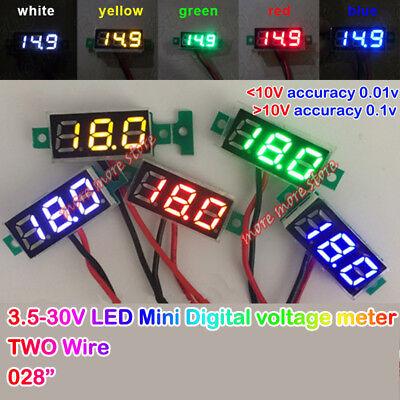 Two Wire 3-digital 0.28inch Led Voltage Meter Dc 3.5-30v 12v 24v Mini Voltmeter