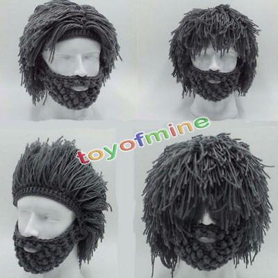 Mens Boys Funny Wig Beard Hats Hobo Mad Caveman Winter Knit Warm Hat - Caveman Boy
