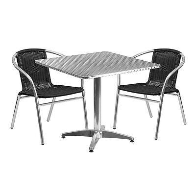 31.5square Aluminum Indoor-outdoor Restaurant Table With 2 Black Rattan Chairs