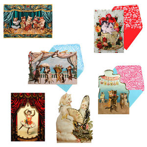 36-3D-Decoupage-Victorian-Cat-Greetings-Cards-Embossed-and-Glittered