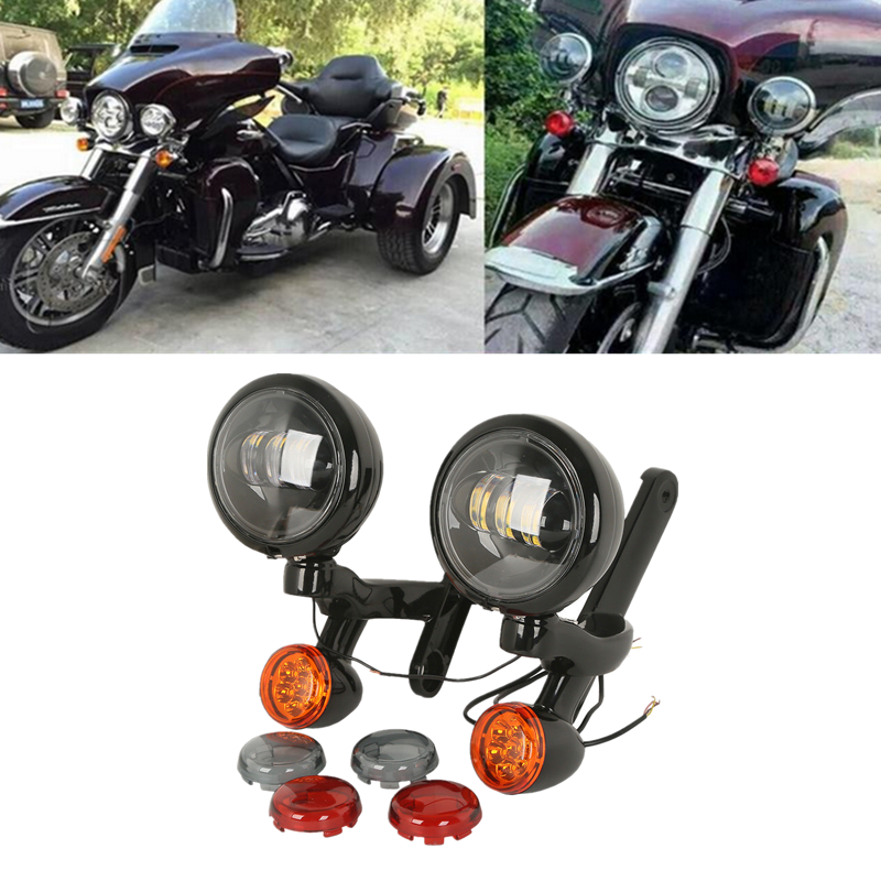 Motorcycle Chrome Auxiliary Lighting Brackets For Harley Street Glide Frame Parts 2006-2016