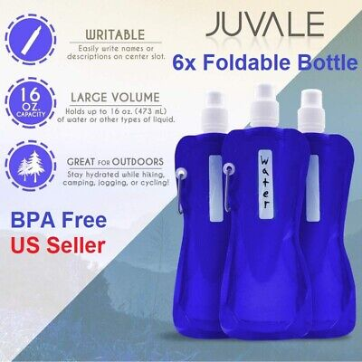 6 Pack 470ml BPA Free Foldable Collapsible Water Bottle Reus