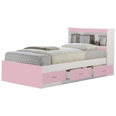 Hodedah Twin Size Captain Bed with 3 Drawers and Headboard in (Twin Size Captains Bed With 3 Drawers)