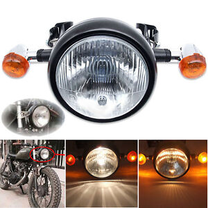 1xMotorcycle Retro Front Headlight Turn Signal Light+Mount For Cafe Racer Bobber