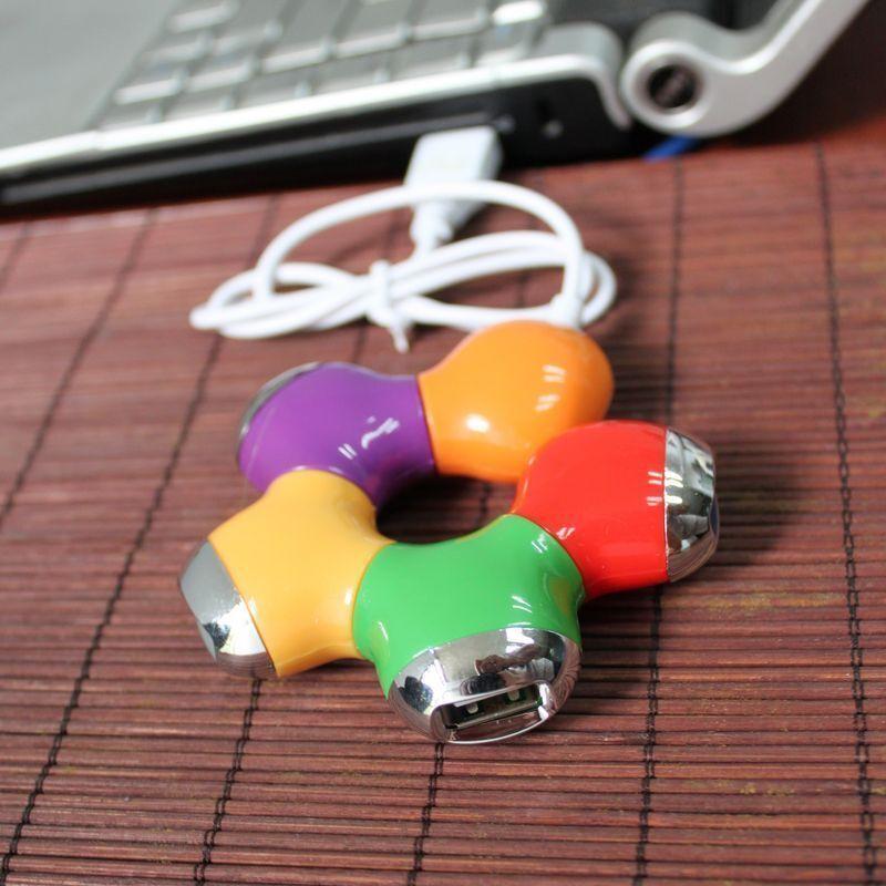 Multi Colour Flower Rotatab 4-Port USB 2.0 High Speed Slot Hub