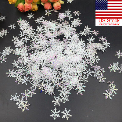 US 300Pcs Classic White Snowflake Ornaments Christmas Holiday Party Home Decor