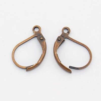 4 Leverback Ear Wires Antique Copper Tone Earring Findings Lever Earrings  for sale  Shipping to India