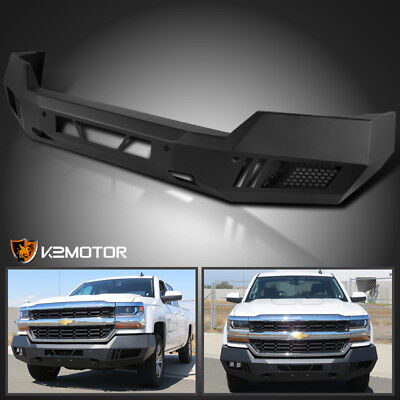 Truck Front Bumper - 2016-2018 Silverado 1500 Custom Front Bumper Truck Matt Black Heavy Duty Steel