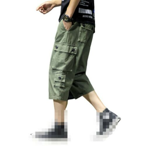 Mens Cargo Pants Multi-pocket Shorts Cropped trousers Straight Outdoor Leisure D