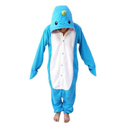 Blue Narwhal Pajamas Polar Fleece Kigurumi Pajama Adult Animal Cosplay Costume  - Narwhal Costume