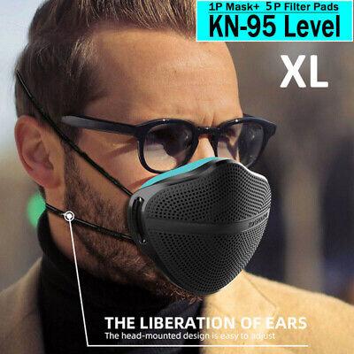 Adult Reusable Face Mask Carbon Filter Mouth Nose Separate Antihaze Fog Black Xl