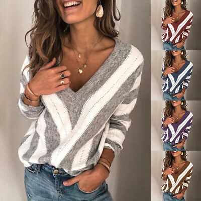 UK Womens Long Sleeve V Neck Loose Knitted Sweater Casual Jumper Tops Plus Size