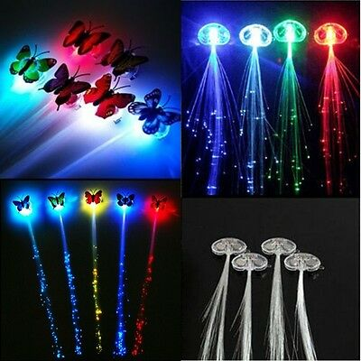 Light Up Hair Clips Extensions LED Costume Flashing Fiber Braid Barrette Rave - Led Hair Clips