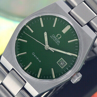 VINTAGE OMEGA Geneve AUTOMATIC CAL.1481 DATE GREEN DIAL ANALOG DRESS MEN