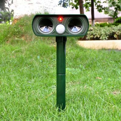 Solar Power Ultrasonic Dual Pest Repeller Cat Dog Fox Bird Animal Deterrent Yard