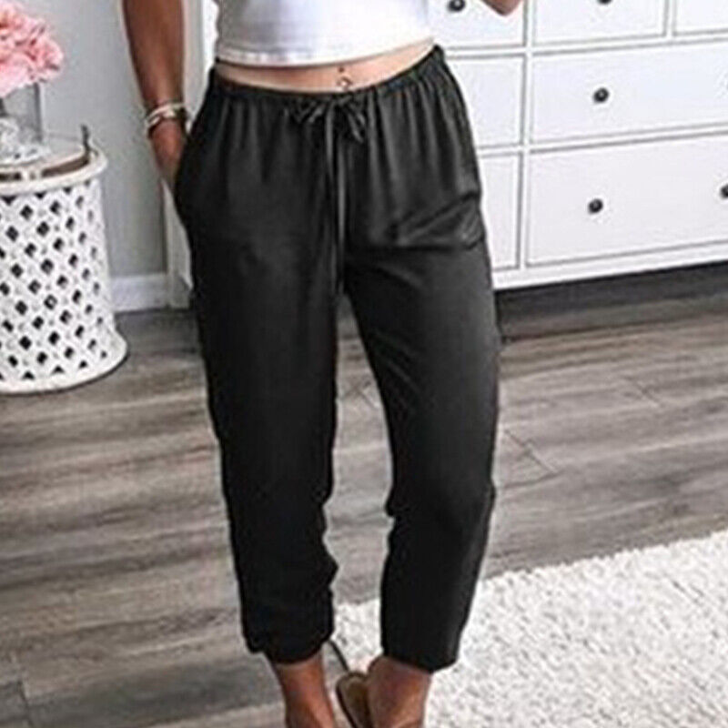 Womens Jogger Capri Pants Pocket  Elastic Waisted Trousers Loungewear Bottoms Clothing, Shoes & Accessories