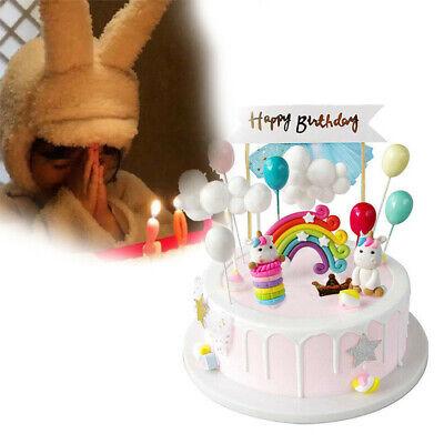 Einhorn Cake Torten Topper Kuchenstecker Happy Birthday Ohren Kuchendeko NEU DE