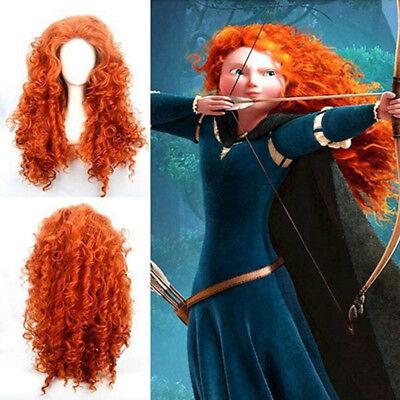US! Halloween Brave Merida Curly Wavy Orange Long Hair Wigs Cosplay Costume