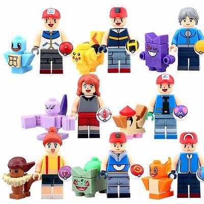 8pcs pokemon go Set POKEMON Mini Figures PIKACHU Building Blocks Toys Kids Gift