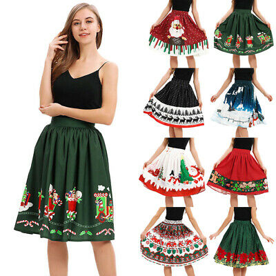 Womens Christmas Tree Costume (Christmas Costume Women White Snow Xmas Tree Print Skirt Party A-Line)