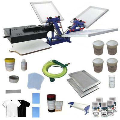 3 Color Screen Printing Press Kit Adjustable Printer Flash Dryer Ink Squeegees