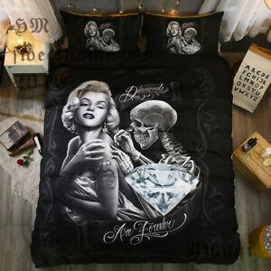 Marilyn Monroe Skull Black Bedding Set Duvet Cover Bedding Comforter Sets Queen