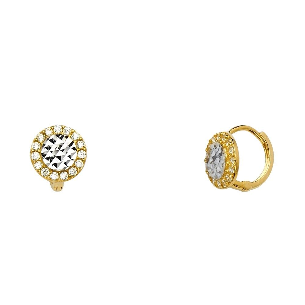 14k Solid Yellow or White Solid Gold Huggie Hoop Earrings with CZ Cubic Zirconia