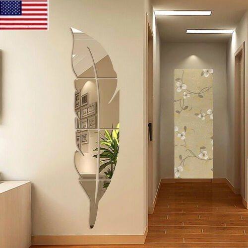Home Decoration - 3D DIY Removable Feather Mirror Wall Stickers Art Vinyl Decal Room  Home Decor