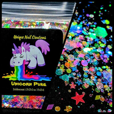 UNICORN PUKE~MULTI SHAPES GLITTER~Nail•Acrylic•Gel•Body Art•Face•Festival
