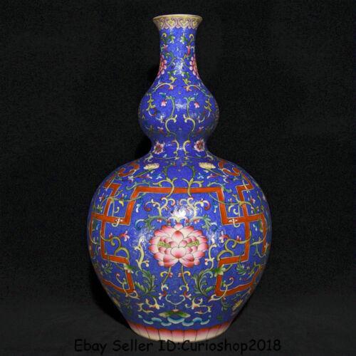"""15.6"""" Qianlong Marked China colour enamels Porcelain Gourd Flower Bottle Vase"""