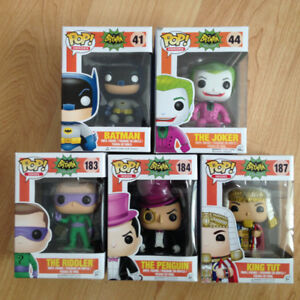 Lot of 5 Funko Pops - Batman TV Series - Joker,Riddler,Penguin