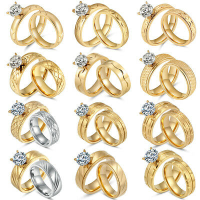 Gold Duo Band Ring - Women's Stainless Steel 18K Gold Plated CZ Engagement Wedding Band Ring Set Pair