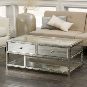 BRAND NEW Mirrored Studded Coffee Table