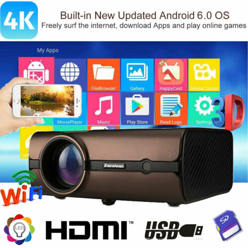 Multimedia 4K FHD 1080P WiFi Android6.0 BT 3D LED Projector