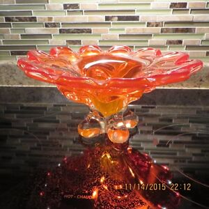 ORANGE ART GLASS BOWL