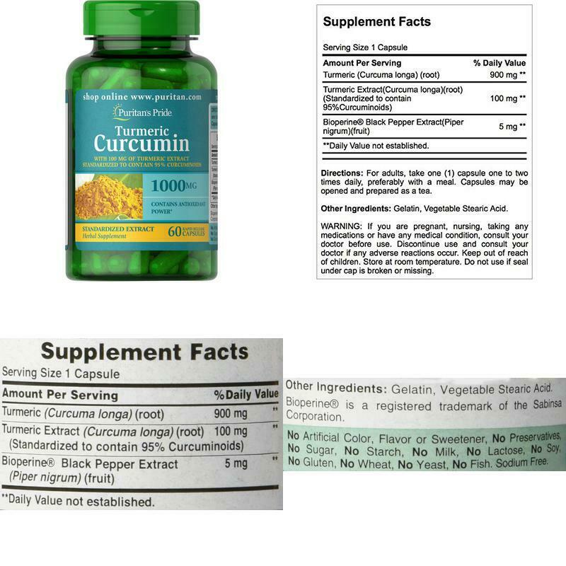 Puritan'S Pride Turmeric Curcumin 1000 Mg W/Bioperine Capsul