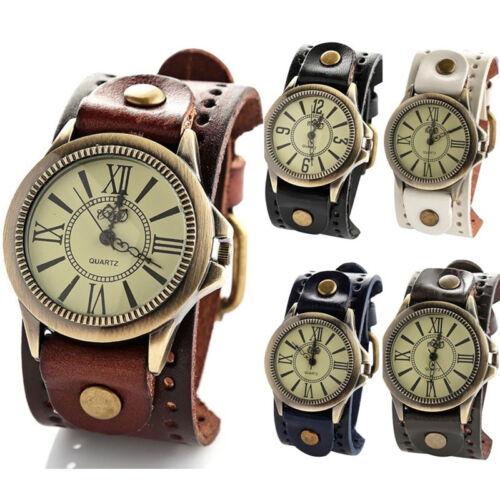 Vintage Herren Damen Steampunk Uhren Große Breite Lederarmband-Armband