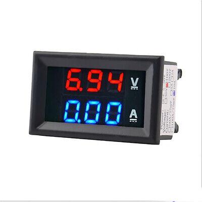 Dc Voltmeter Ammeter Dual Digital Volt Meter Gaug Panel Meter 100v 10-100a Blue