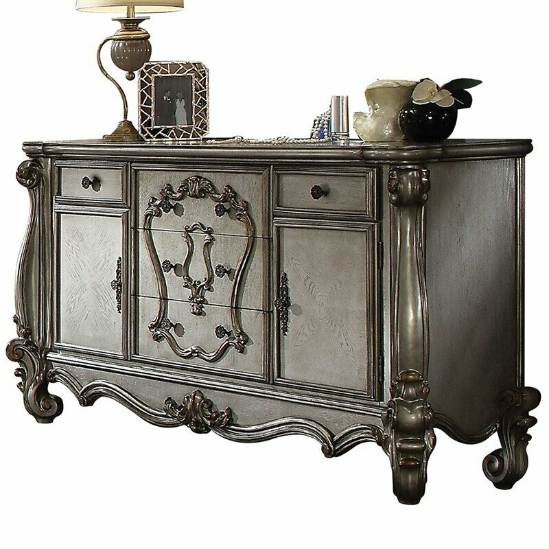 Acme Versailles 5 Drawer Dresser In Antique Platinum
