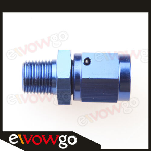 """3AN AN-3 Female Swivel To Male 1/8"""" NPT Straight Aluminum Adapter Fitting Blue"""