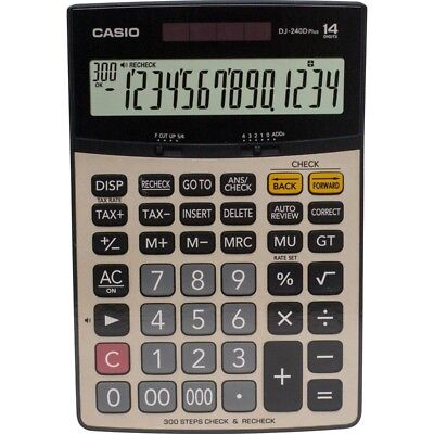 """NEW Casio DJ-240D Plus Electronic Calculator """"CHECK/RECHECK"""" LARGE 14-DIGIT LCD"""
